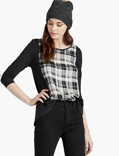 BLK PLAID SPLIT BACK,