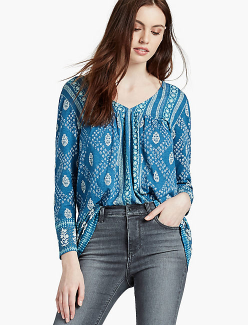 PAISLEY DOUBLE V TOP,