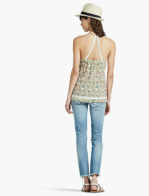 CROCHET BACK TANK, NATURAL MULTI