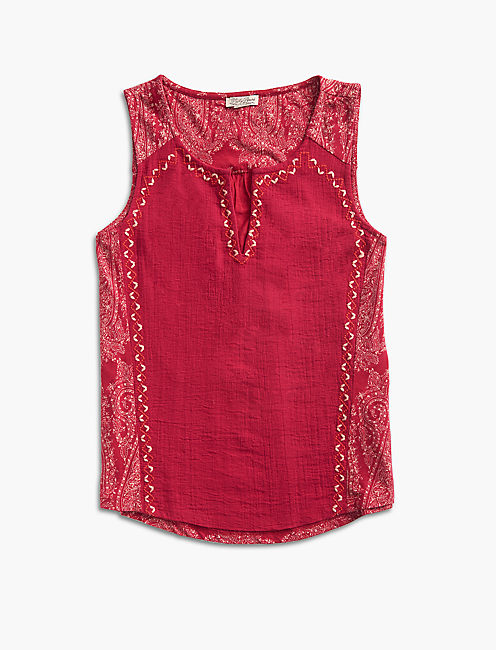 EMBROIDERED WOVEN MIX TANK, RED MULTI