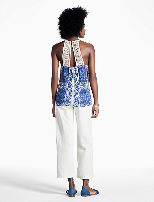 PAISLEY EMBROIDERED TANK, BLUE MULTI