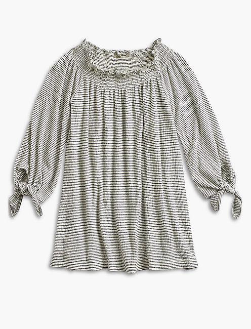 Stripe Smock Off Shoulder Top,