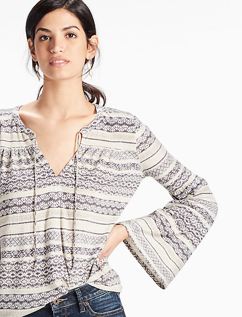 STRIPED BELL SLEEVE TOP,