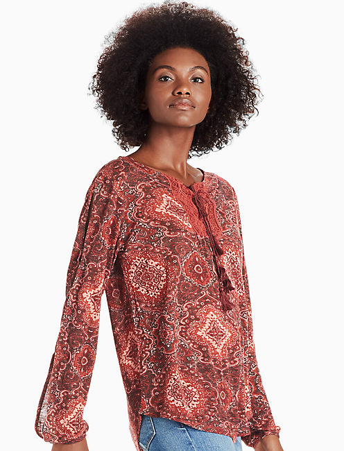 PRINTED LACE PEASANT, RED MULTI