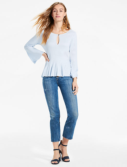 BELL SLEEVE TOP, LIGHT BLUE