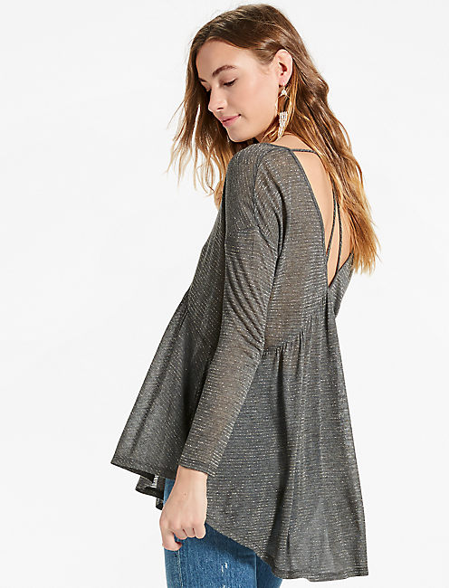 METALLIC SWING TOP, CHARCOAL