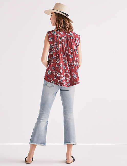 LACE UP PRINTED TOP,