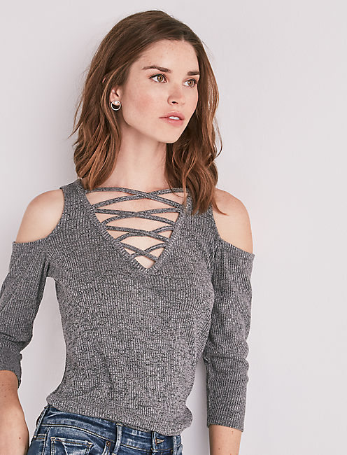CRISSCROSS COLD SHOULDER TOP, HEATHER GREY