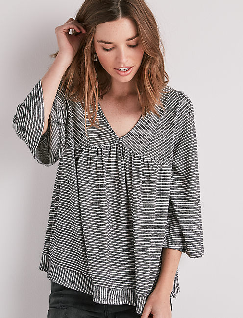 STRIPE LONG SLEEVE PEASANT TOP,