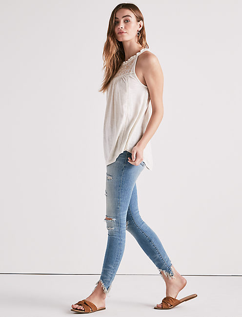 SLEEVELESS EMBROIDERED YOKE TOP, NATURAL