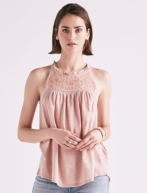 Sleeveless Embroidered Yoke Top by Lucky Brand