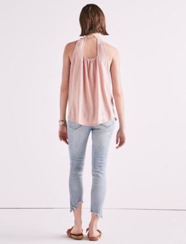 Lucky Sleeveless Embroidered Yoke Top