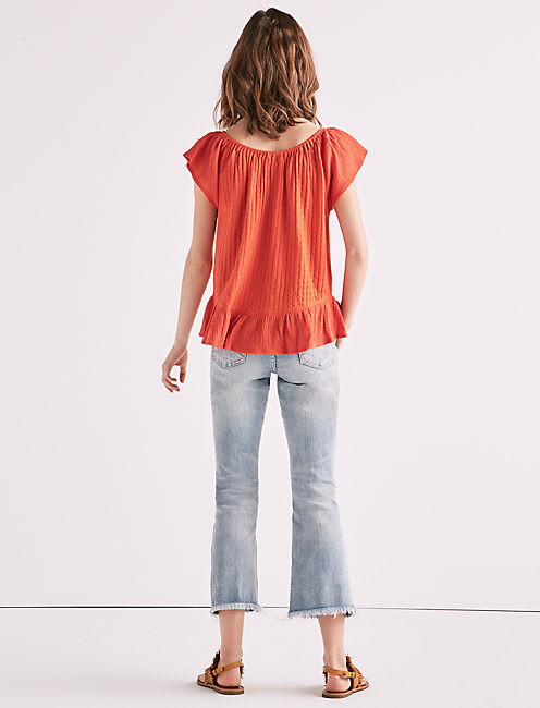 TEXTURED WOVEN MIX MEDIA TOP,
