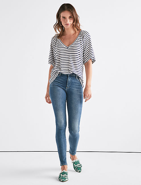 Lucky Stripe Drop Needle Top