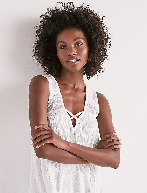 LACE UP EMBROIDERED TANK,
