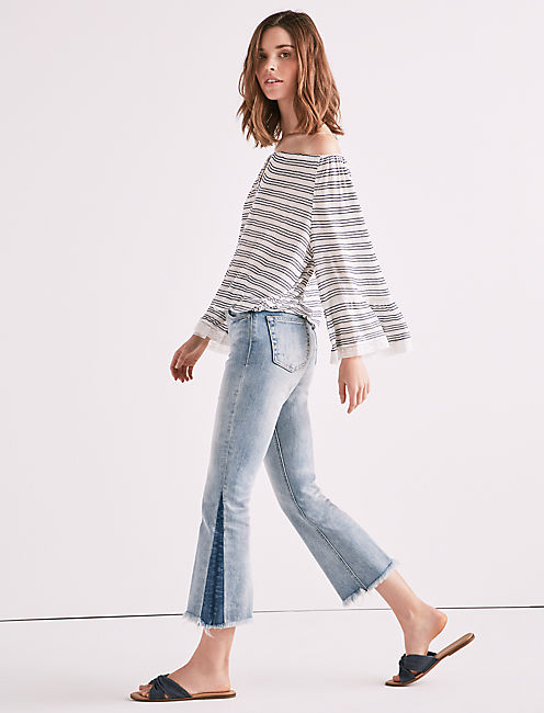 STRIPE BELL SLEEVE PEASANT TOP,
