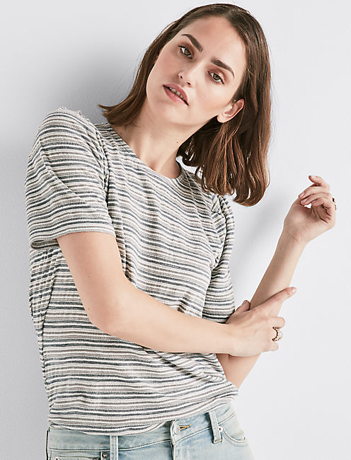 STRIPE PUFF SLEEVE TEE,