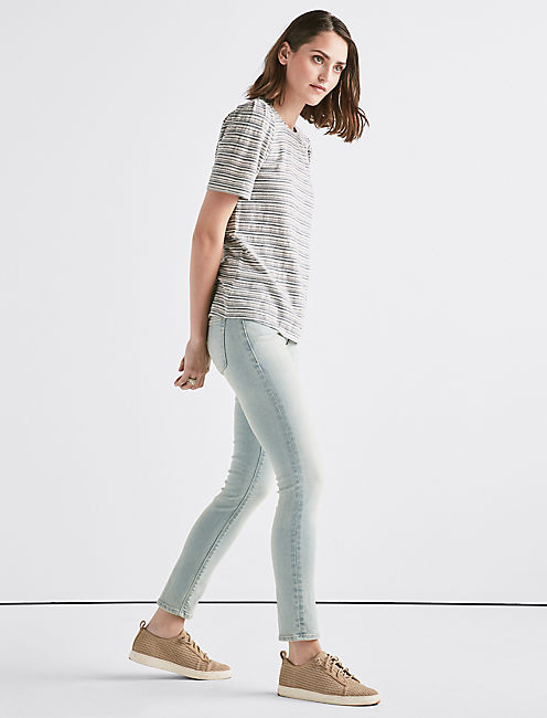 STRIPE PUFF SLEEVE TEE, BLUE STRIPE