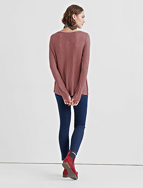 DROP NEEDLE HENLEY, ROSE TAUPE