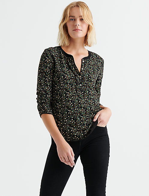FLORAL RUFFLE HENLEY TOP,