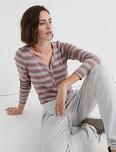 STRIPE SNAP THERMAL HENLEY,