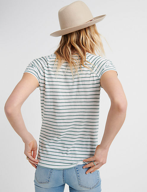 LACE UP FRONT TOP, MINT STRIPE