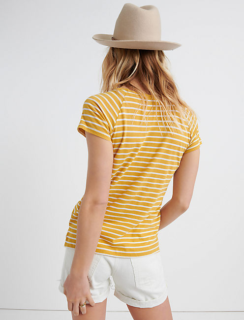 LACE UP FRONT TOP, YELLOW STRIPE