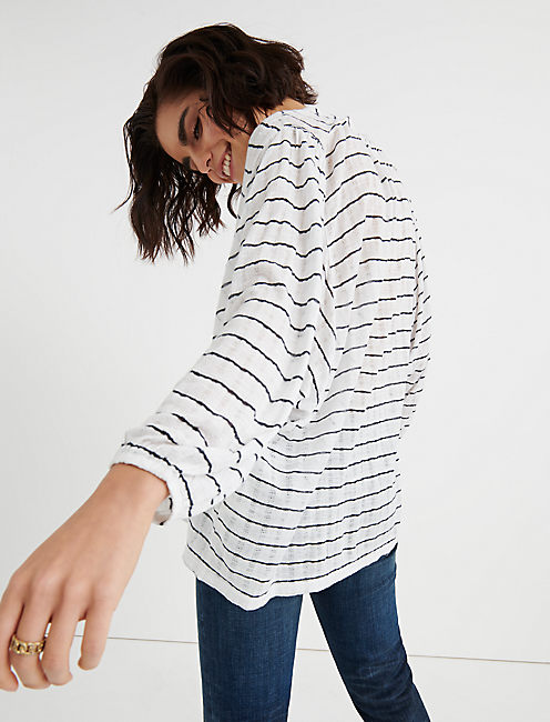 STRIPE JACQUARD TOP, WHITE STRIPE