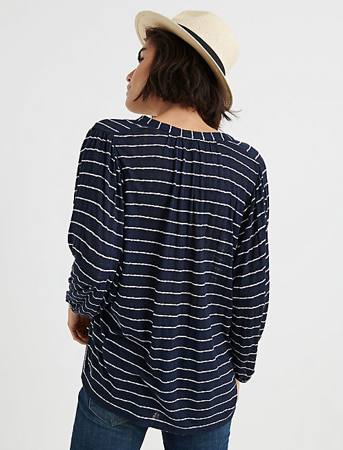 STRIPE JACQUARD TOP, NAVY STRIPE