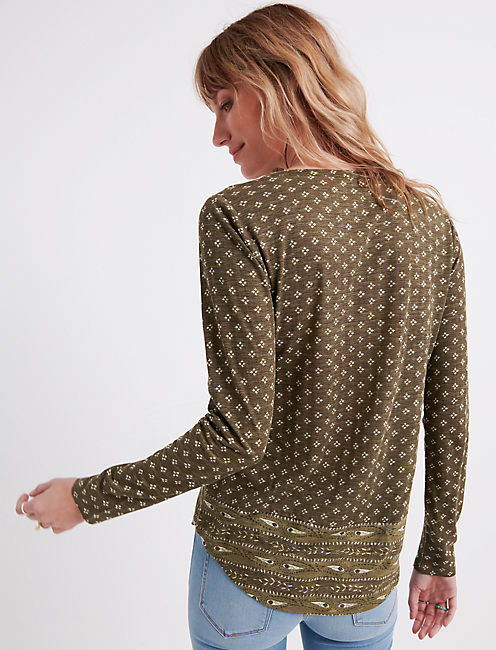 PAISLEY PRINT HENLEY, OLIVE MULTI