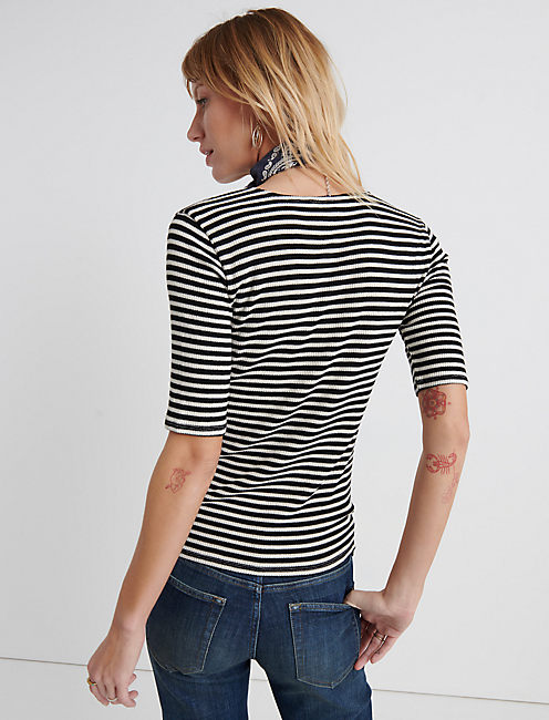 Striped Ribbed Tee, BLACK STRIPE