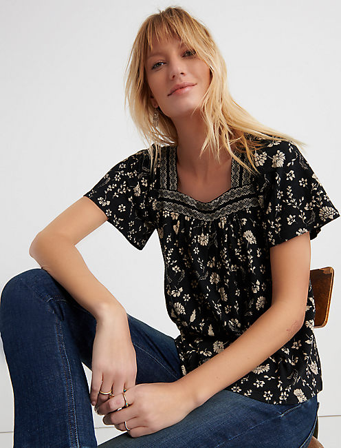SQUARE NECK PRINTED TOP, BLACK MULTI