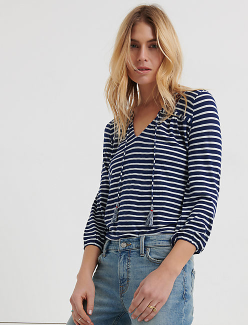 STRIPE INDIGO TOP, INDIGO STRIPE