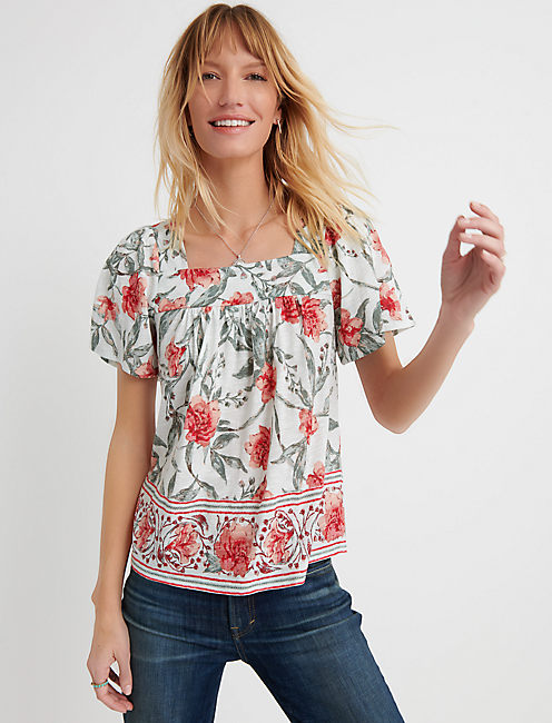 SQUARE NECK PRINTED TOP,