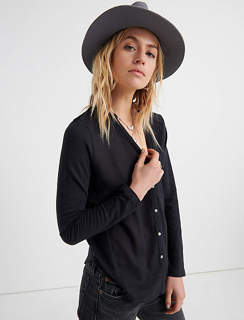 WOVEN KNIT MIXED TOP, WASHED BLACK