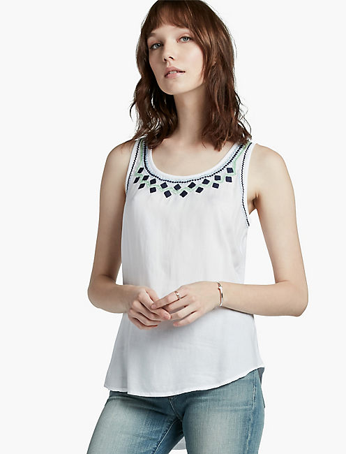 MIXED MEDIA EMBROIDERED TANK,