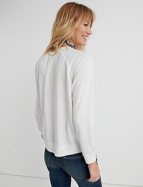 LUCKY LOGO BURNOUT SWEATSHIRT, LUCKY WHITE