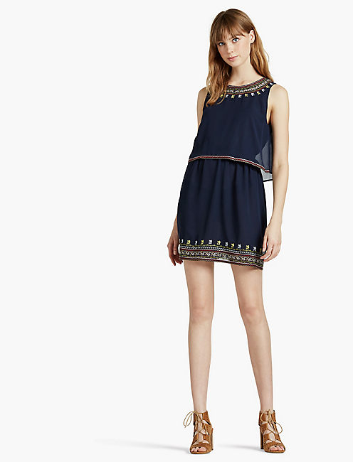 TIERED EMBROIDERED DRESS, AMERICAN NAVY