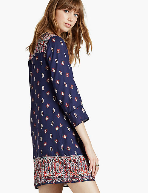 Lucky Paisley Border Shift Dress