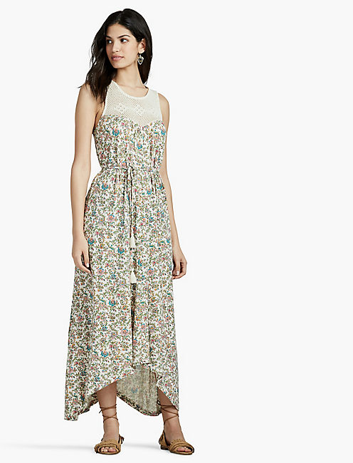CROCHET YOKE FLORAL MAXI DRESS,