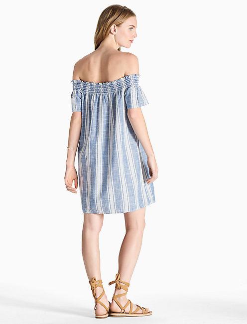 TENCEL OFF SHOULDER DRESS, BLUE MULTI