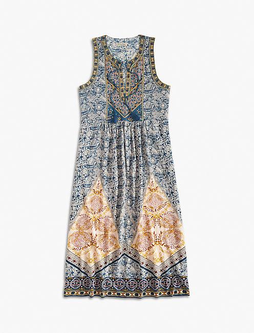 SCARF PRINT DRESS, MULTI