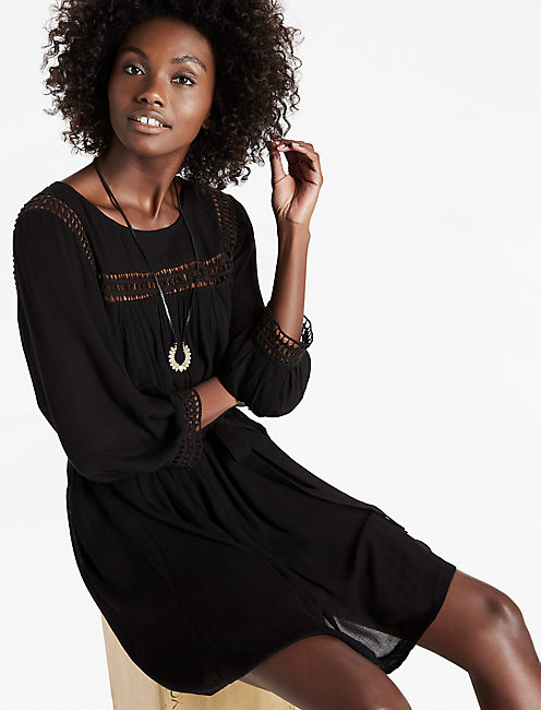 GEO LACE INSERT DRESS, 001 LUCKY BLACK