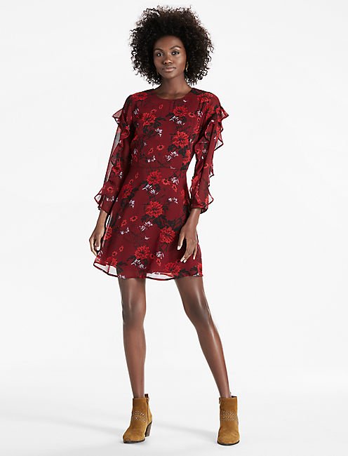 BELL SLEEVE DRESS, BURGUNDY MULTI