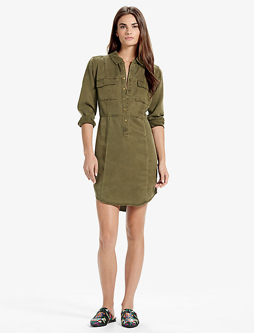 Lucky Military Shirt Dress