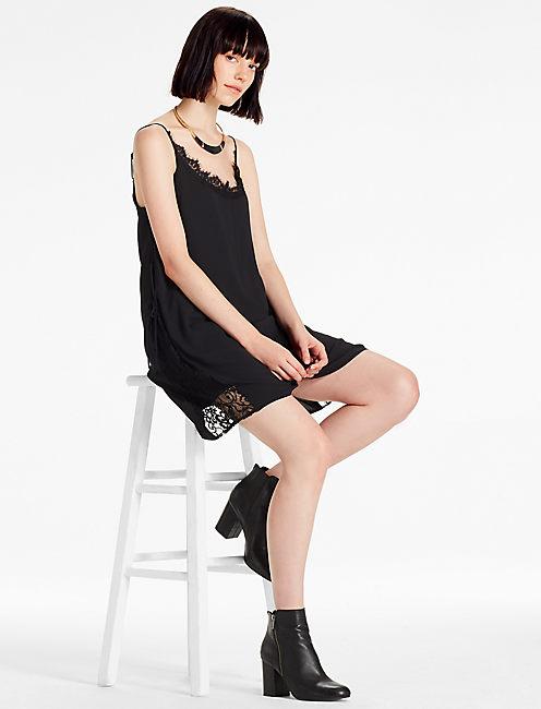 SLIP DRESS, 001 LUCKY BLACK