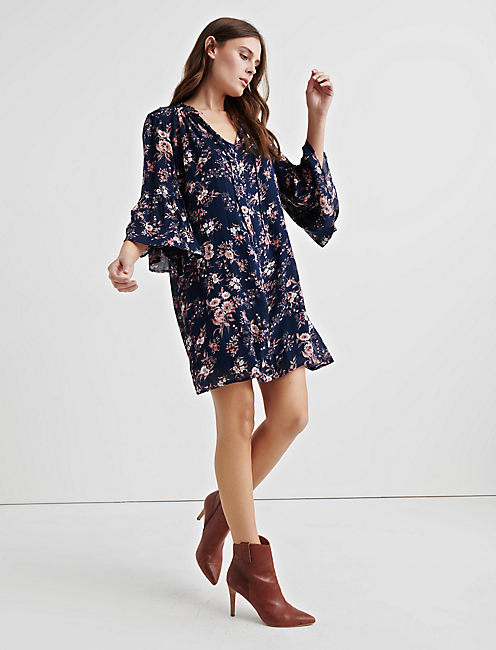 Lucky Printed Bell Sleeve Dress