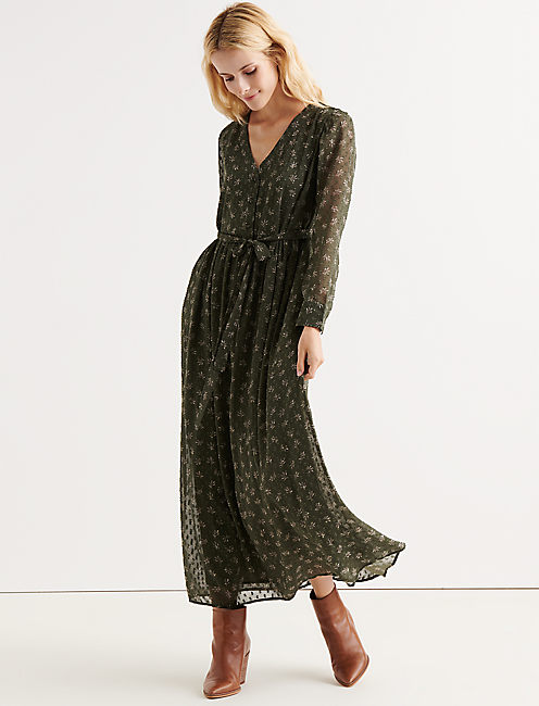 BUTTON FRONT MAXI, OLIVE MULTI