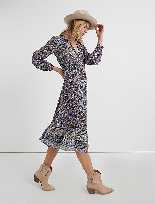 Long Sleeve BORDER PRINT MIDI DRESS, NAVY MULTI