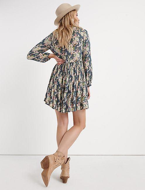 PRINTED SHIRT DRESS, GREY MULTI
